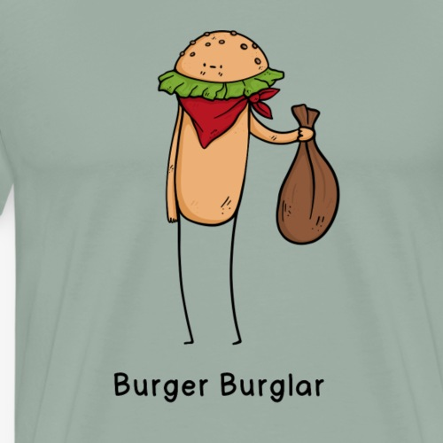 Burger Burglar Criminal Joke Fun Shirt - Men's Premium T-Shirt
