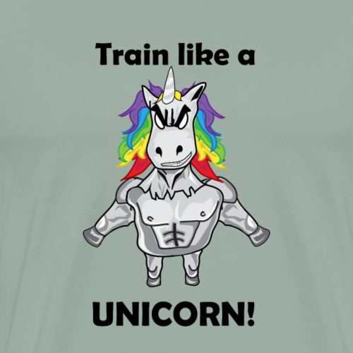 Train like a Unicorn black gift idea - Men's Premium T-Shirt