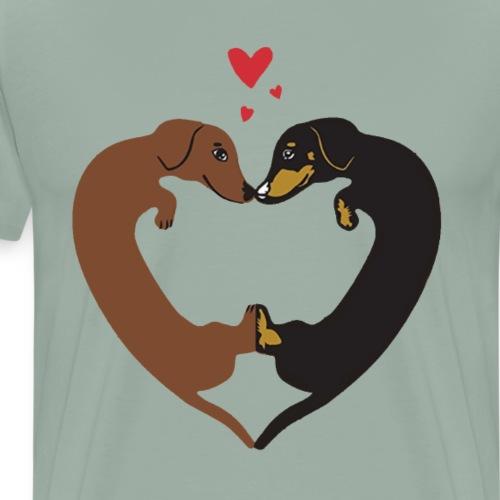 Dachshund Heart - Funny Cute Valentine's Day Gift - Men's Premium T-Shirt