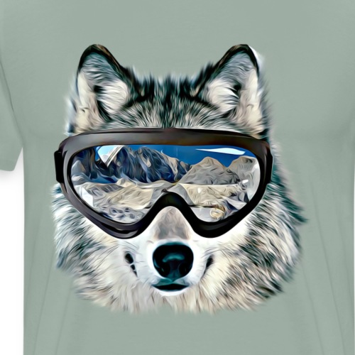 Funny Cute Wolf Face With 3D Glasses - Men's Premium T-Shirt