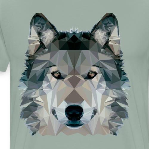 Wolf Face Low Poly Design, Wolf Face Clip art - Men's Premium T-Shirt