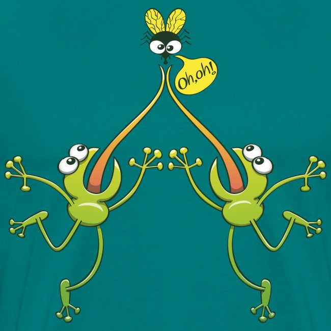 Two green frogs fighting to eat an unlucky fly