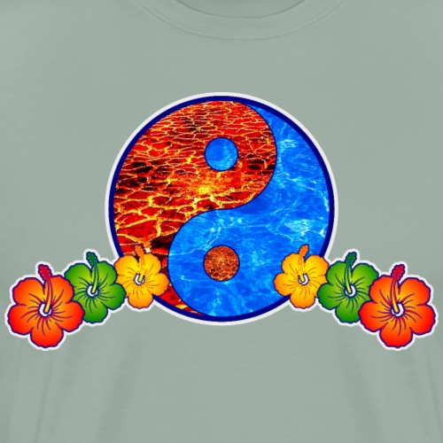 Lava and Water Yin Yang with Hibiscus Flowers - Men's Premium T-Shirt