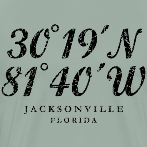 Jacksonville, Florida Coordinates (Vintage Black) - Men's Premium T-Shirt