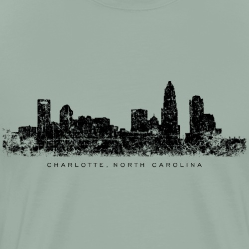 Charlotte, North Carolina Skyline (Vintage Black) - Men's Premium T-Shirt