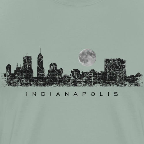 Sleepless in Indianapolis - Skyline with Full Moon - Men's Premium T-Shirt