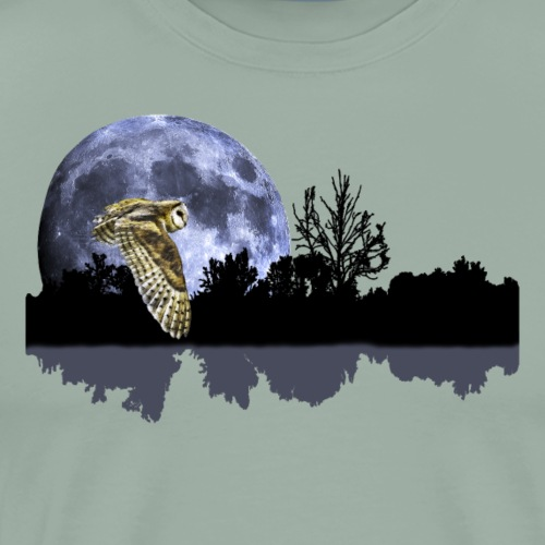 Owl over the lake - Men's Premium T-Shirt