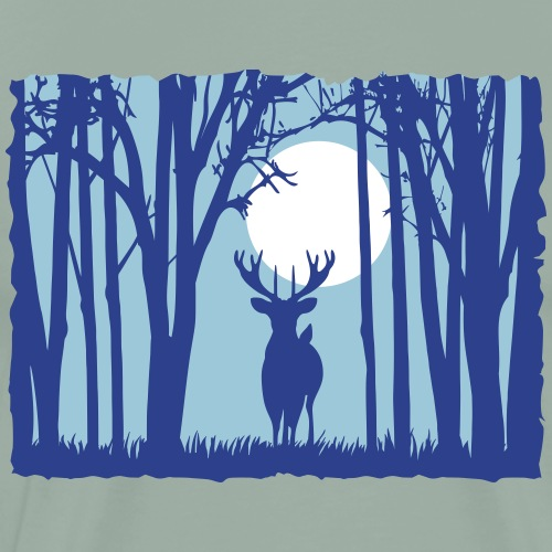 Moon with deer in the forest sunset moon antlers - Men's Premium T-Shirt