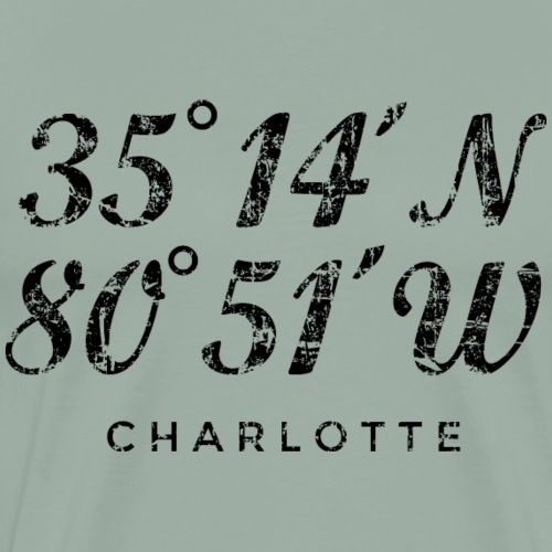 Charlotte North Carolina Coordinates Vintage Black - Men's Premium T-Shirt