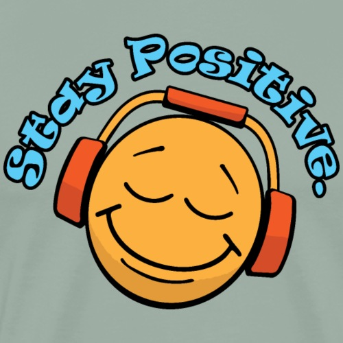 Stay Positive Happy Face with Headphones - Men's Premium T-Shirt