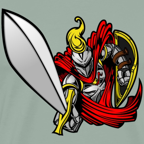 Cartoon medieval knight warrior funny vector image - Men's Premium T-Shirt
