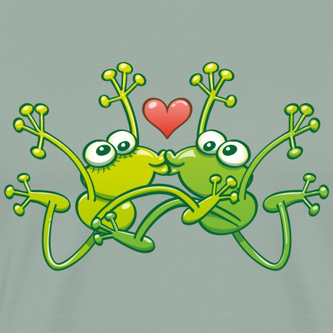 Frogs in love performing an acrobatic jumping kiss