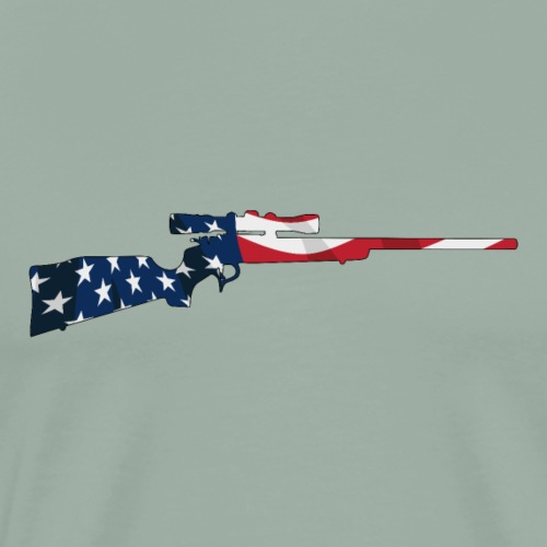 Patriotic Hunting Rifle with USA Flag Overlay - Men's Premium T-Shirt