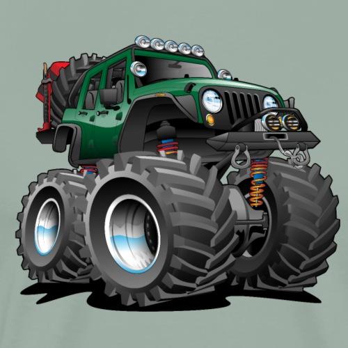 Off road 4x4 green jeeper cartoon - Men's Premium T-Shirt