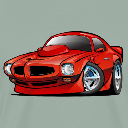 Classic Seventies American Muscle Car Cartoon - Men's Premium T-Shirt