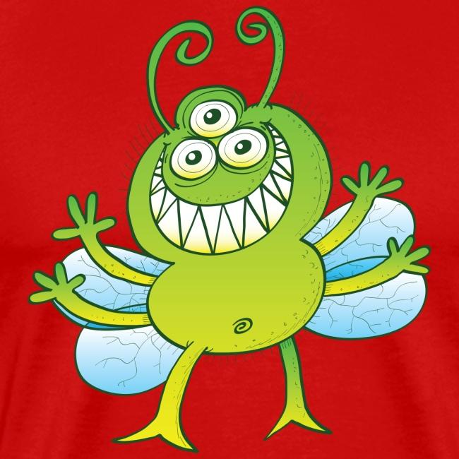Three-eyed alien bug grinning mischievously