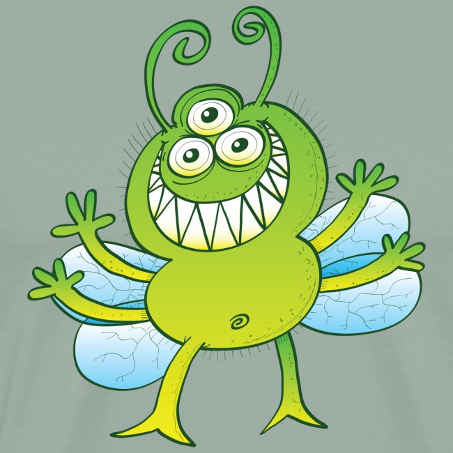 Three-eyed alien bug grinning mischievously