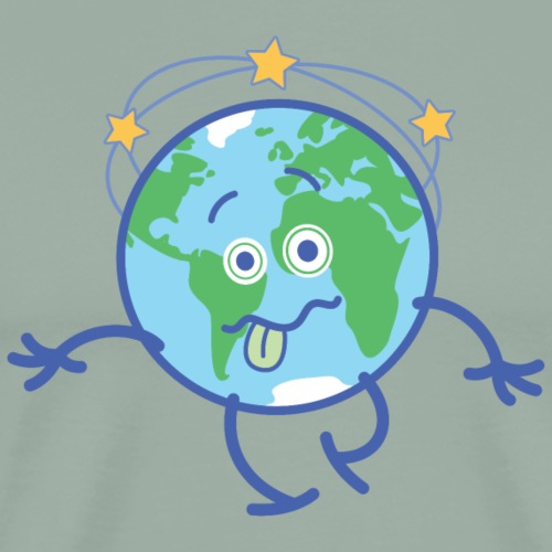 Cartoon Earth walking unsteadily and feeling dizzy - Men's Premium T-Shirt