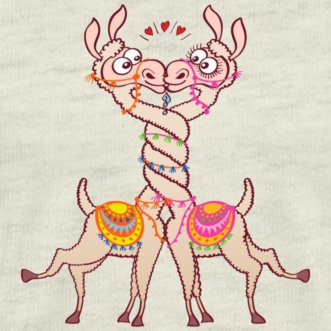 Llamas in love intertwining necks and kissing