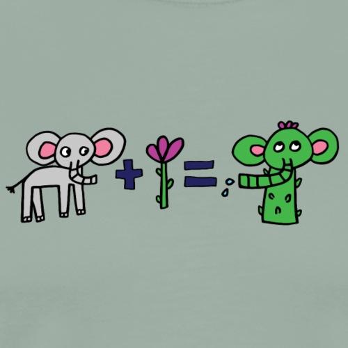 Elephant Flower, Black Outline (tshirts) - Men's Premium T-Shirt