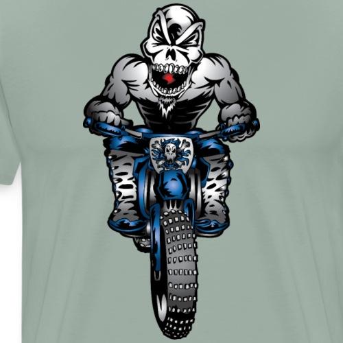 Blue Dirt Bike Skull Monster - Men's Premium T-Shirt