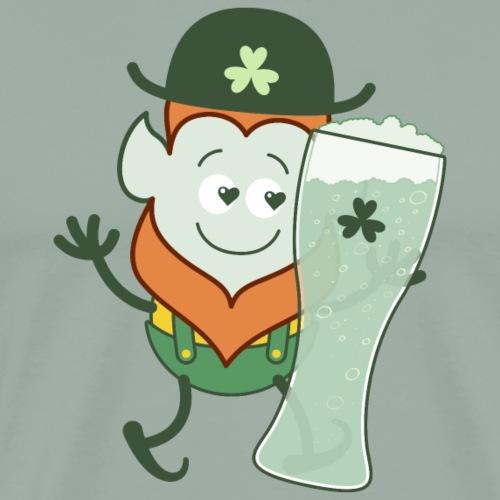 St Patrick's Day Leprechaun in love with beer - Men's Premium T-Shirt
