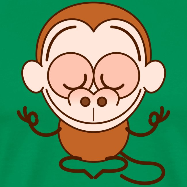 Devoted brown monkey meditating in a joyful way