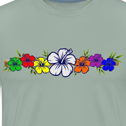 Colorful Hibiscus Flowers and Bamboo Shoot - Men's Premium T-Shirt