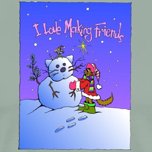 Snowman and Cat friends - Men's Premium T-Shirt