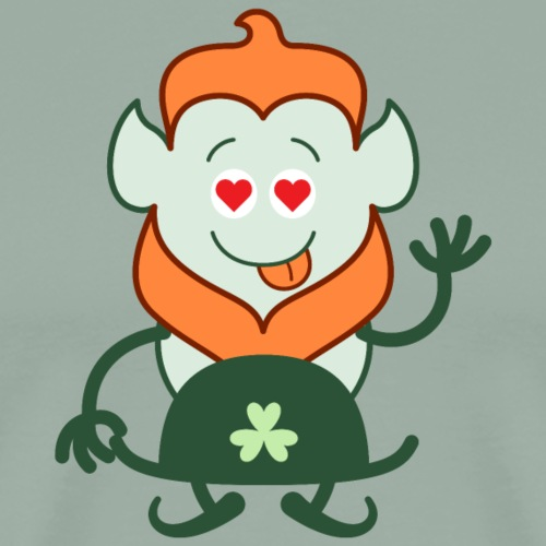 Naked Saint Patrick's Day Leprechaun in love - Men's Premium T-Shirt