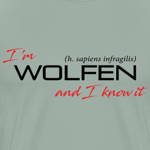 Front/Back: Wolfen Attitude on Light- Adapt or Die - Men's Premium T-Shirt