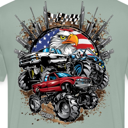 Mega Mud Trucks USA - Men's Premium T-Shirt