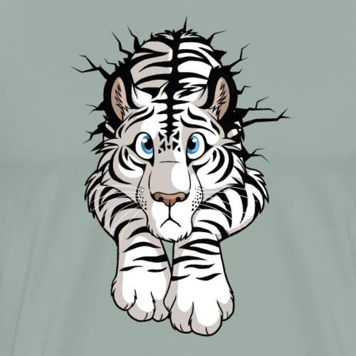 STUCK Tiger White (double-sided) - Men's Premium T-Shirt