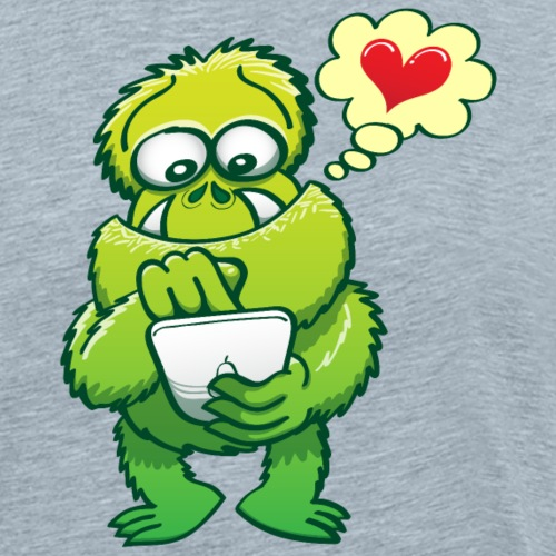 Ugly monster looking for love online in a tablet - Men's Premium T-Shirt