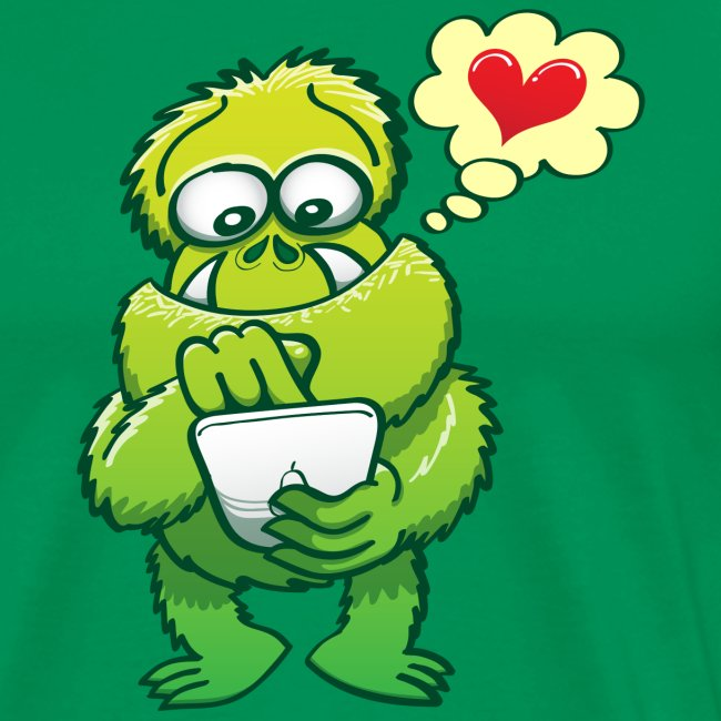 Ugly monster looking for love online in a tablet