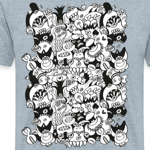 Doodles get crazy when posing for a pattern design - Men's Premium T-Shirt