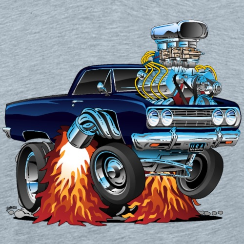 Classic Sixties Muscle Car Cartoon - Men's Premium T-Shirt