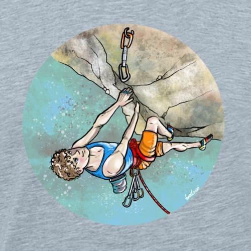 Rock Climbing an Overhang Route - Men's Premium T-Shirt