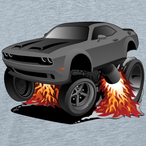 Modern American Muscle Car Cartoon Illustration - Men's Premium T-Shirt