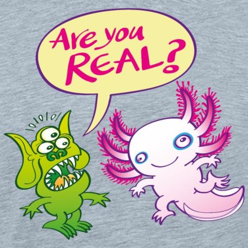 Surprised alien wondering if the axolotl is real - Men's Premium T-Shirt