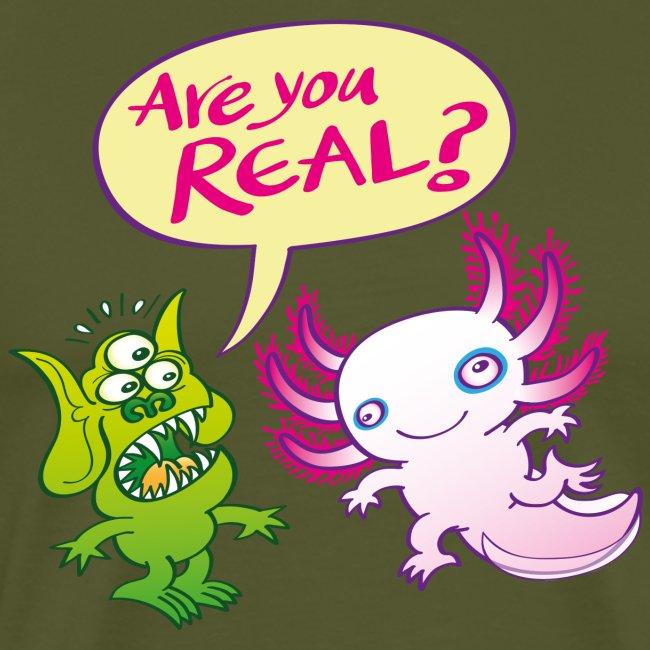 Surprised alien wondering if the axolotl is real