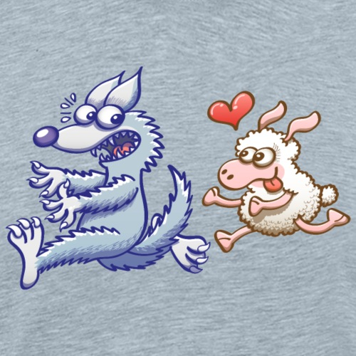 Funny sheep in love running after a terrified wolf - Men's Premium T-Shirt