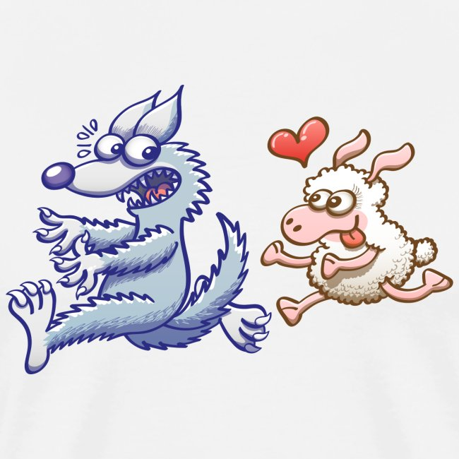 Funny sheep in love running after a terrified wolf