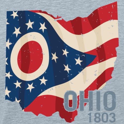 Ohio 1803 with Ohio flag stars and stripes - Men's Premium T-Shirt