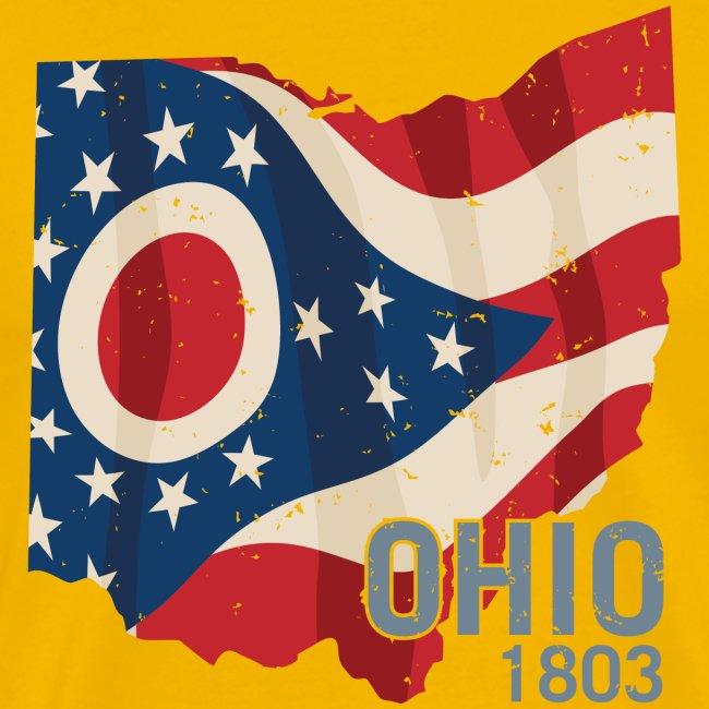 Ohio 1803 with Ohio flag stars and stripes