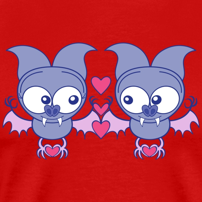 Sweet bats falling in love while creating hearts