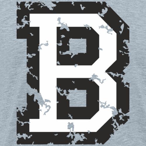 Letter B (Distressed Black/White) - Men's Premium T-Shirt