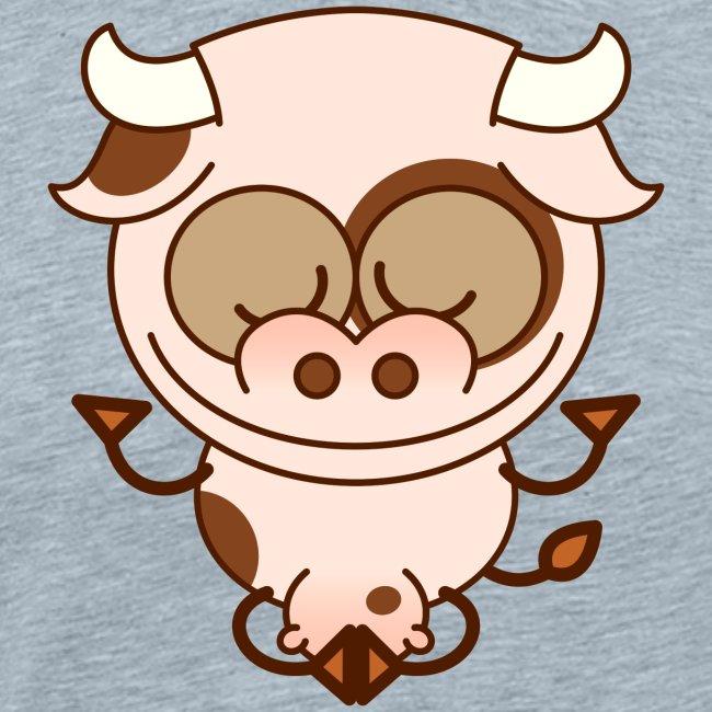 Cut cow performing a joyful deep meditation
