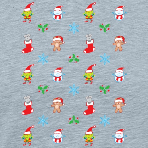 Teddy, mouse elf and snowman Christmas pattern - Men's Premium T-Shirt
