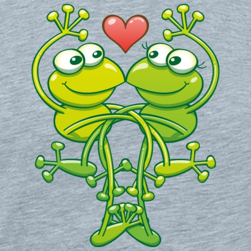 Sweet couple of green frogs madly falling in love - Men's Premium T-Shirt